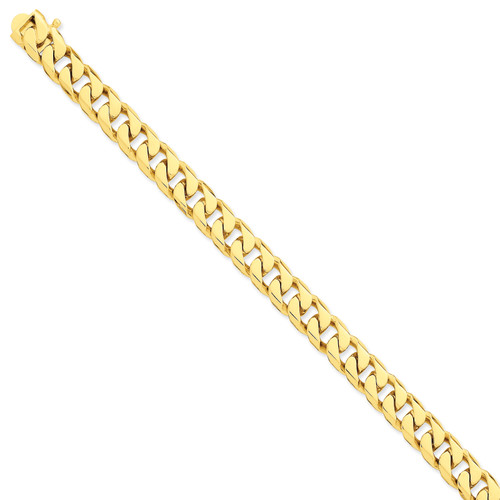 14K 9.7mm Hand-polished Flat Beveled Curb Chain: 45.23gm, 8in long, 9.7mm wide