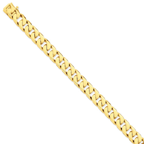 14K 10.6mm Hand-polished Flat Beveled Curb Chain: 172.30gm, 22in long, 10.6mm wide