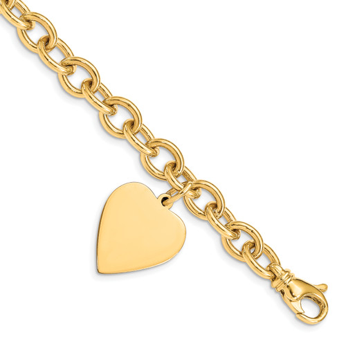 14K 8.5in Polished Engraveable Link with Heart Charm Bracelet: 26.36gm, 8.5in long, 19mm wide