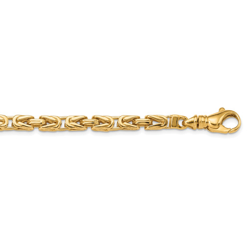 14K 4.9mm Hand-polished Byzantine Link Chain: 90.45gm, 24in long, 5mm wide