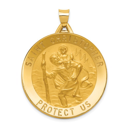 14K Saint Christopher Medal Pendant: 9.16gm, 43mm long, 33mm wide