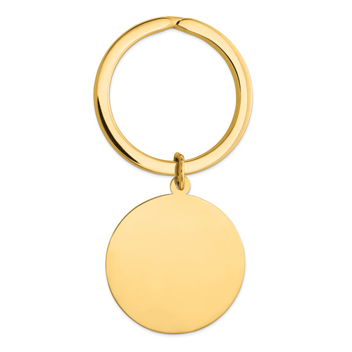 14K Round High Polished Disc Key Ring: 8.96gm, 52mm long, 27mm wide
