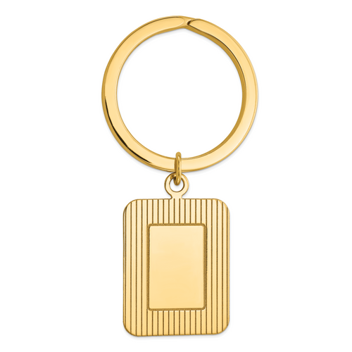 14K Textured Rectangle Disc Key Ring: 8.84gm, 53mm long, 27mm wide