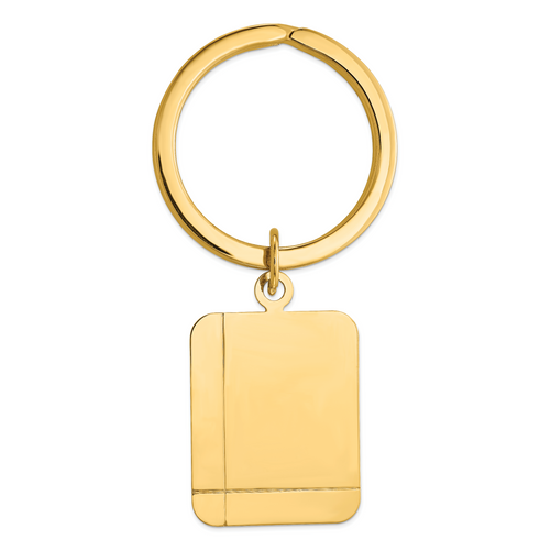 14K Grooved Rectangle Disc Key Ring: 8.85gm, 53mm long, 27mm wide