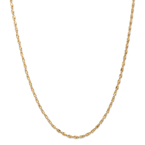 14K 2.5mm Marquise Rope Chain: 11.28gm, 24in long, 2.5mm wide