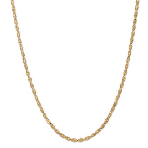 14K 3.5mm Marquise Rope Chain: 16.21gm, 24in long, 3.5mm wide