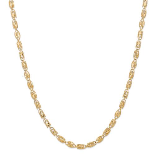 14K 4mm Marquise Rope Chain: 17.97gm, 18in long, 4mm wide