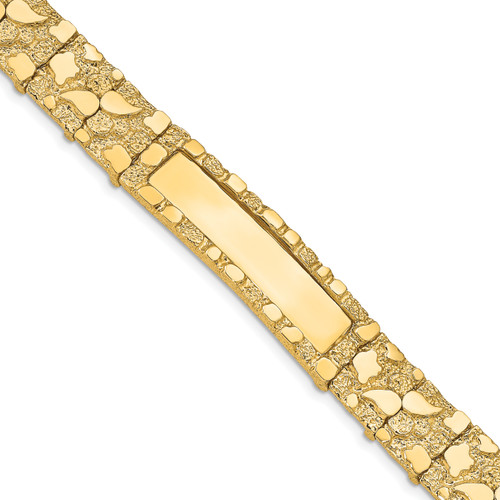 14K 12.0mm Nugget ID Bracelet: 35.08gm, 8in long, 12mm wide