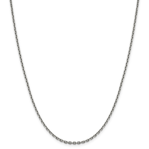 14K White Gold 2.5mm Diamond-Cut Cable Chain: 13.66gm, 24in long, 2.5mm wide