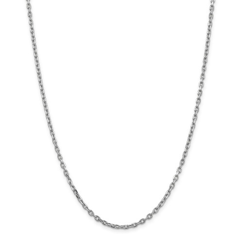 14K White Gold 3mm Diamond-Cut Round Open Link Cable Chain: 13.60gm, 24in long, 3mm wide