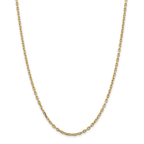 14K 3mm Diamond-Cut Round Open Link Cable Chain: 13.70gm, 24in long, 3mm wide