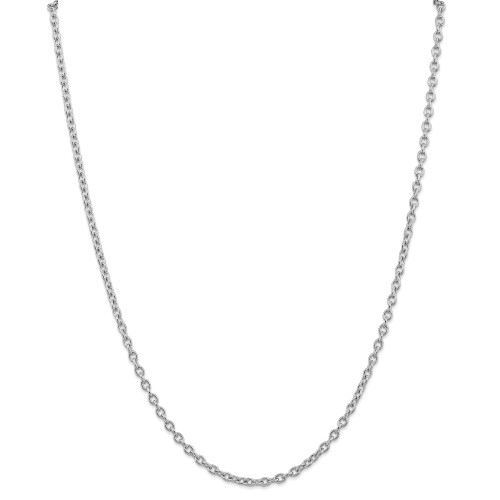 14K White Gold 3.2mm Round Open Link Cable Chain: 14.28gm, 24in long, 3.2mm wide
