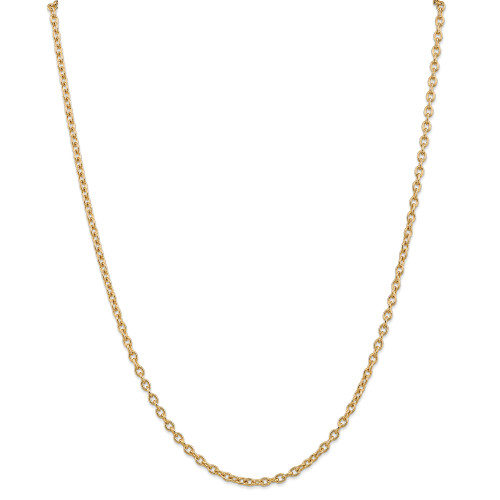 14K 3.2mm Round Open Link Cable Chain: 14.89gm, 24in long, 3.2mm wide