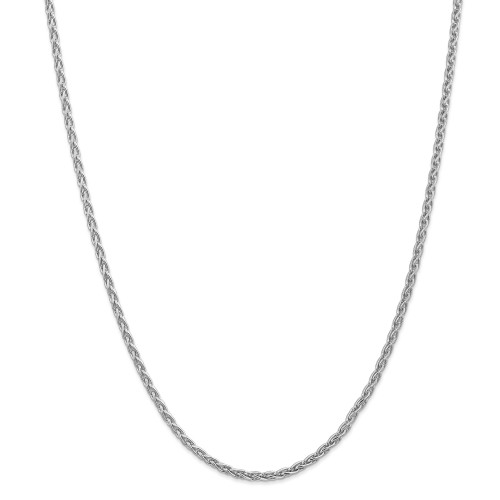 14K White Gold 3mm Parisian Wheat Chain: 17.78gm, 20in long, 3mm wide