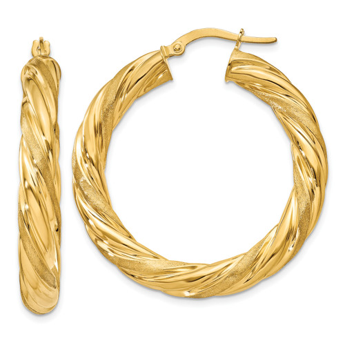 14K 6mm Satin & Polished Twisted Hoop Earrings: 6.87gm, 25mm long, 5mm wide
