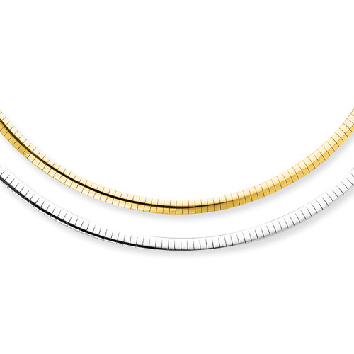 14K 4mm Reversible White & Yellow Domed Omega Necklace: 22.53gm, 18in long
