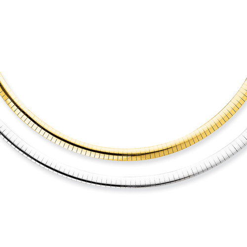 14K 5mm Reversible White & Yellow Domed Omega Necklace: 28.52gm, 18in long