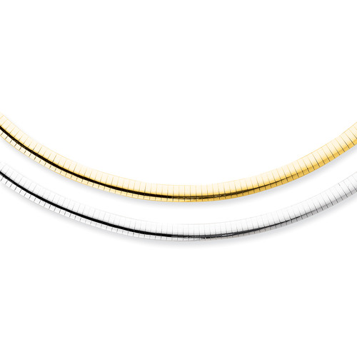 14K 6mm Reversible White & Yellow Domed Omega Necklace: 30.81gm, 16in long
