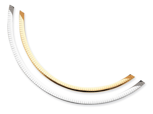 14K Two-tone Lt Reversible 5mm Omega w/extender Necklace: 22.80gm, 18in long