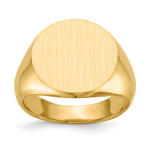 14K 15.0x15.5mm Closed Back Signet Ring: 9.81gm
