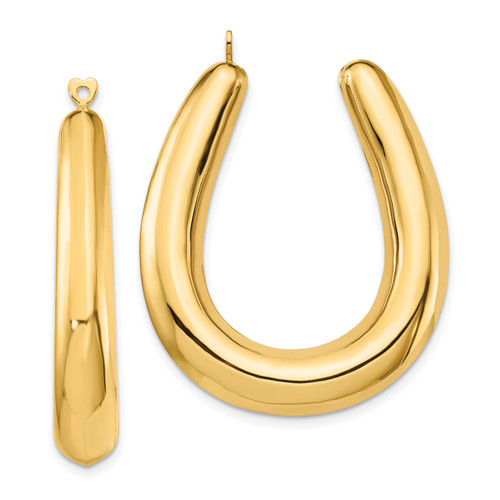 14K Polished Hollow Hoop Earring Jackets: 6.25gm, 37mm long, 7mm wide