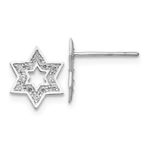14K Madi K White Gold CZ Star of David Earrings, 10mm long, 8mm wide