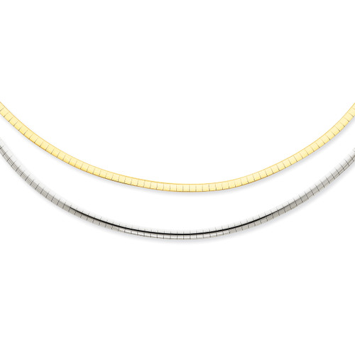 14K Two-tone 2.5mm Reversible Omega Necklace: 13.01gm, 16in long