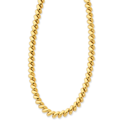 14K Polished San Marco Necklace: 23.17gm, 16in long