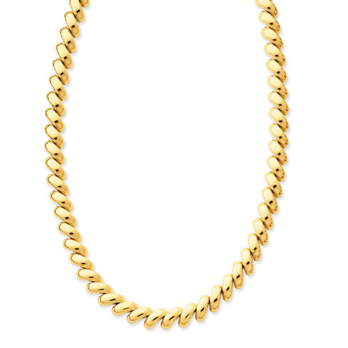 14K Polished San Marco Necklace: 30.83gm, 17in long