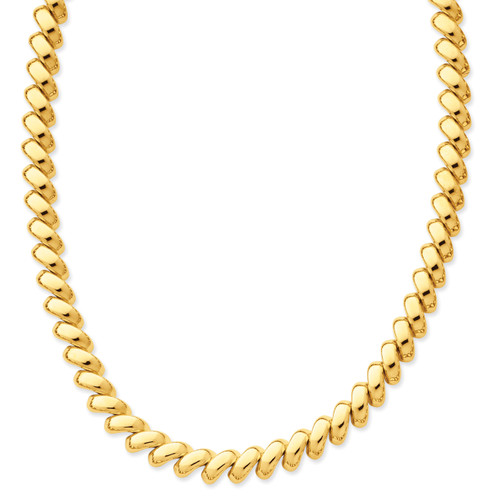 14K Polished San Marco Necklace: 32.53gm, 17in long
