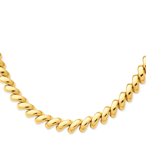 14K Polished San Marco Necklace: 41.76gm, 17in long