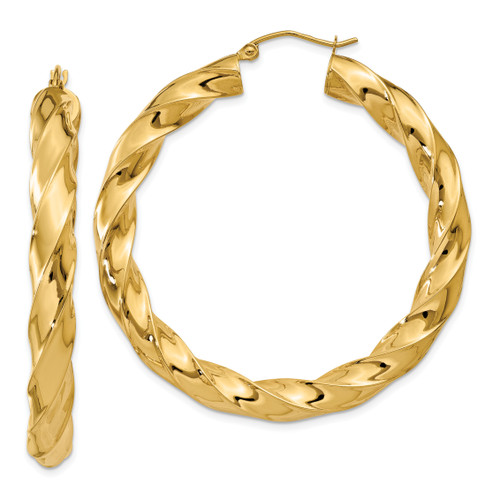 14K Polished 5.0mm Twisted Hoop Earrings: 9.03gm, 33mm long, 5mm wide