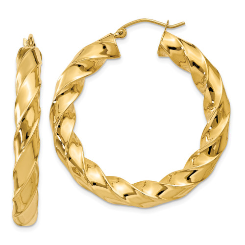 14K Polished 5.0mm Twisted Hoop Earrings: 5.56gm, 27mm long, 5mm wide