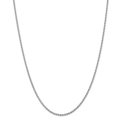 14K White Gold 2.25mm Regular Rope Chain: 11.78gm, 30in long, 2.25mm wide