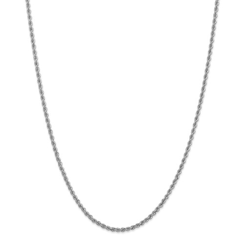 14K White Gold 2.5mm Regular Rope Chain: 11.19gm, 22in long, 2.5mm wide