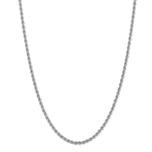 14K White Gold 3.0mm Regular Rope Chain: 26.26gm, 30in long, 3mm wide