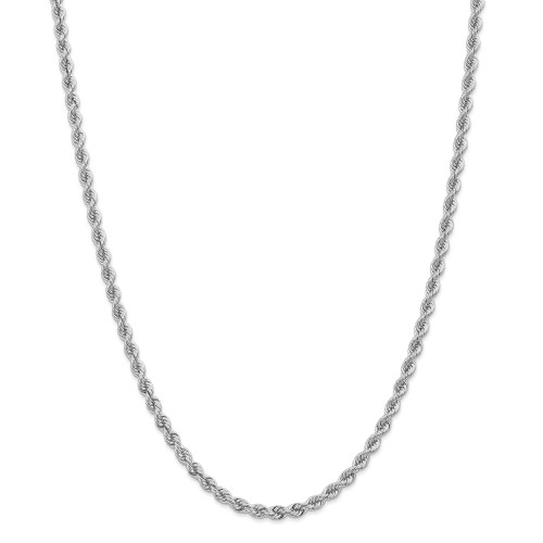 14K White Gold 4.0mm Regular Rope Chain: 40.47gm, 30in long, 4mm wide