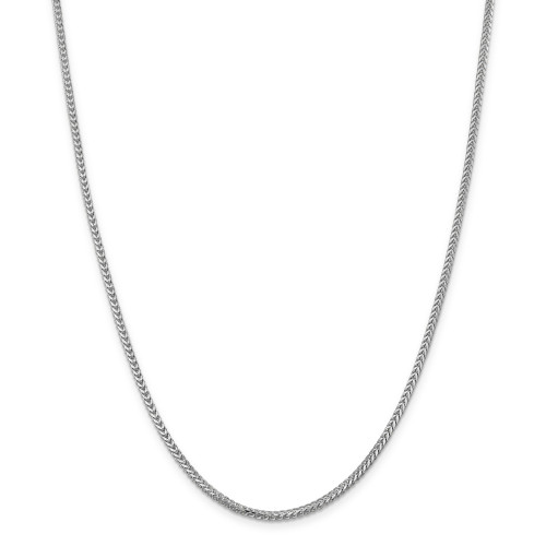 14K White Gold 2mm Franco Chain: 21.56gm, 30in long, 2mm wide