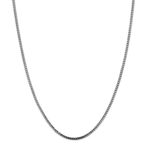 14K White Gold 2.5mm Franco Chain: 23.68gm, 24in long, 2.5mm wide
