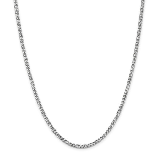 14K White Gold 3mm Franco Chain: 25.78gm, 18in long, 3mm wide