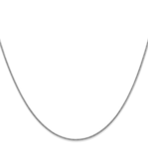 14K White Gold 1.4mm Round Snake Chain: 10.51gm, 30in long, 1.4mm wide