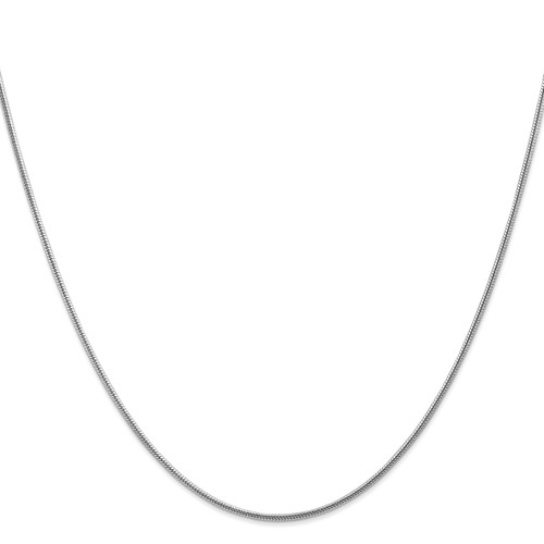 14K White Gold 1.6mm Round Snake Chain: 16.22gm, 30in long, 1.6mm wide