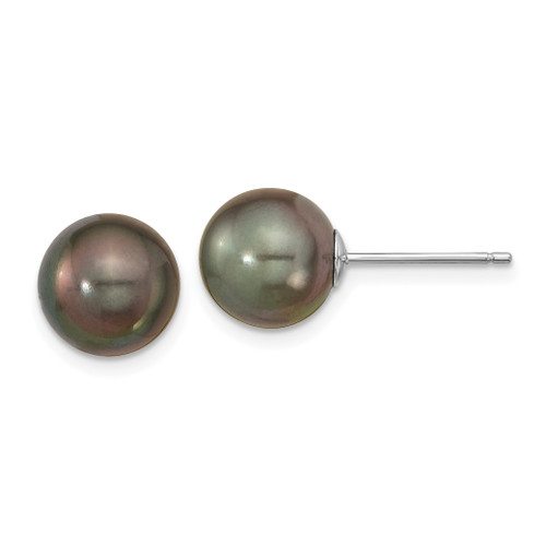 14K White Gold 9-10mm Black Round Saltwater Cultured Tahitian Pearl Post Earrings, 9to10mm(range) long, 9to10mm(range) wide