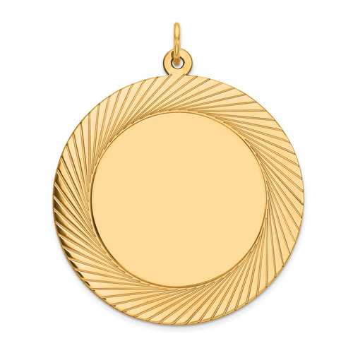 14K Etched Design .035 Gauge Circular Engravable Disc Charm: 8.14gm, 39mm long, 33mm wide