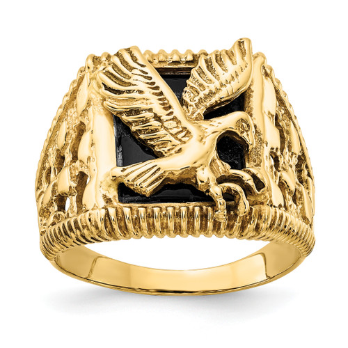 14K Men's Onyx Eagle Ring: 9.34gm