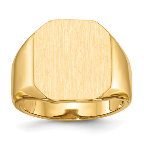 14K 17.0x15.0mm Open Back Mens Signet Ring: 8.76gm