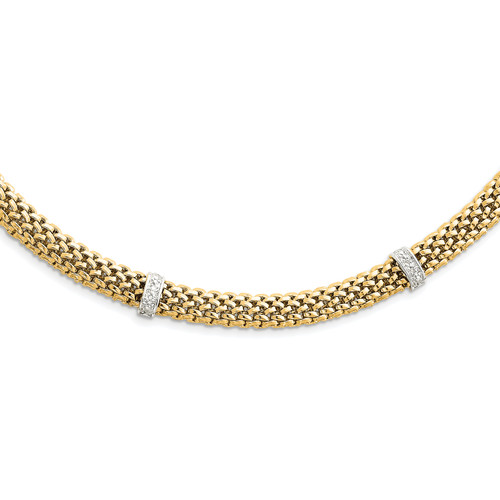 14K Two-Tone 17in .05ct Completed Polished Diamond & Mesh Necklace: 26.10gm, 17in long, 9mm wide