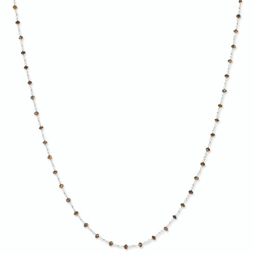 14K White Gold Coffee Brown Diamond Briolette Necklace, 18in long