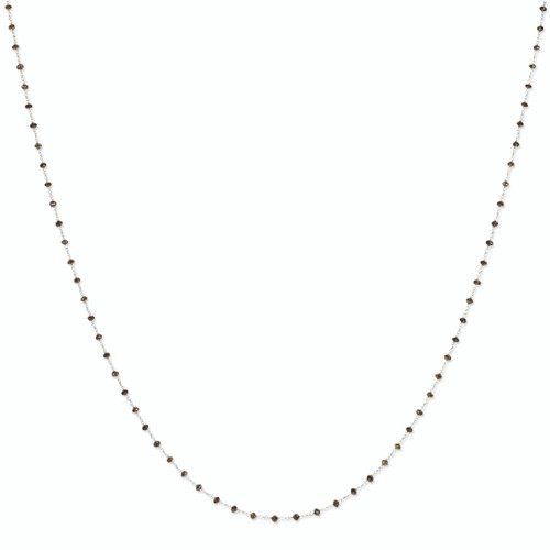 14K White Gold Coffee Brown Diamond Briolette Necklace, 24in long