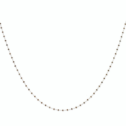 14K White Gold Coffee Brown Diamond Briolette Necklace, 36in long